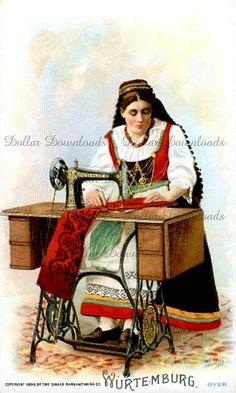 Singer máquina de coser comercial Vintage tarjeta - Wurtemburg Alemania - imagen Digital descargar Nº 020