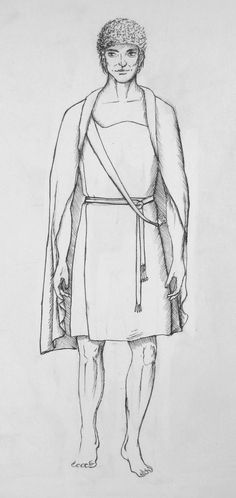 A male garment from early Scandinavian Bronze Age. Drawn after the textiles found in the bruial mound Muldbjerg.