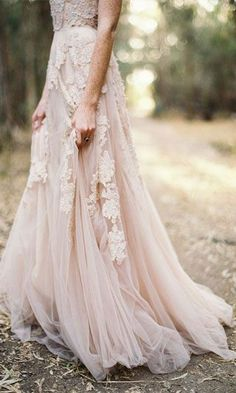 Soft embroidered pink blush wedding dress #wedding #dresses #tremds