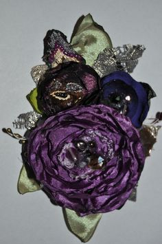 handmade purple corsage brooch hair clip slide dress pin wedding bridesmaid m l