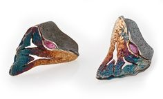 "Elisenda de Haro. Contemporary jewelery.  2012 ""Rudy Reef Collection. Reef pendant oxidized silver and rubies."