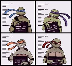 """enjoyturtles: """" TMNT mugshots """" Mikey's happy because he's the one that did whatever got them all arrested. ;-)"""