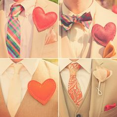 I love the use of hearts as boutonnieres. I thought I was clever in coming up with that idea, but this bride and groom beat me to it! Image via Green Wedding SHoes, from July Wedding Trends, Wedding Blog, Diy Wedding, Wedding Styles, Wedding Stuff, Wedding Ideas, Handmade Wedding, Summer Wedding, Wedding Planning