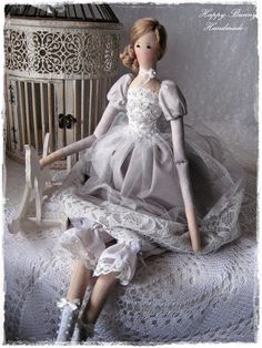 Tilda doll Textile doll Handmade doll Primitive doll Fabric doll Christmas decor Home decor This handmade doll is my interpretation of a Tilda doll pattern. The doll is wearing a gray dress made from cotton, tulle, lace and decorated with pearls, ribbon...Below beautiful dress