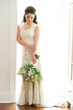 Vanessa looked gorgeous on her wedding day in an Alencon lace gown by Anne Barge!