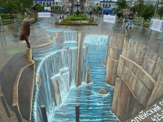 3D street chalk paintings