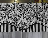 Valance window treatment blk and white