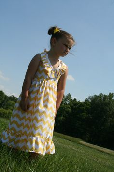 Lovely Girls Maxi Dress in Yellow Chevron by bowsnsuchbymichelle, $45.00