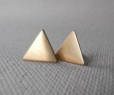 Triangle Stud Earrings - Geometric Jewelry - Triangle Earrings - Gold Brass Jewelry - Thanksgiving Christmas - Christmas Gift (E166) on Etsy, $16.46