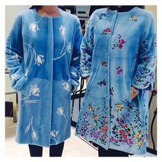 April showers bring May flowers. #oscardelarenta #pluckedmink #embroidered #stencilled #flowerpower #fur #furcoat #fashion #spring #pastel