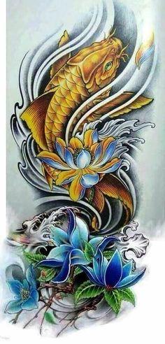 Japanese Koi Fish Tattoo, Koi Fish Drawing, Japanese Dragon Tattoos, Japanese Tattoo Designs, Japanese Sleeve Tattoos, Pez Koi Tattoo, Koi Tattoo Sleeve, Full Sleeve Tattoos, Coy Fish Tattoos