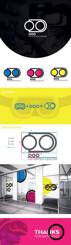 """DOO"" Virtual reality Games Center logo design #vr #yellow #cyan #outline #minimalist"