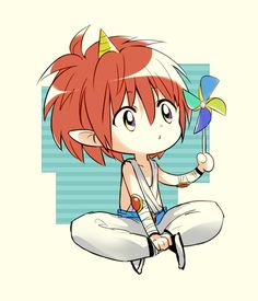 Tags: Anime, Yu Yu Hakusho, Jin KazeTsukai, Pinwheel, Multi-colored Eyes, Pixiv Id 111894, Single Horn