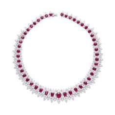 Burmese Mogok ruby and diamond necklace, natural red color, NO INDICATIONS OF HEATING, ORIGINATES FROM BURMA (MYANMAR)