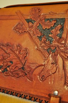 Hand Tooled Leather iPad Case with Acorns and a by MemorableStuff, $400.00