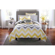 Mainstays Yellow Grey Chevron Bed in a Bag Bedding Comforter Set - Walmart.com