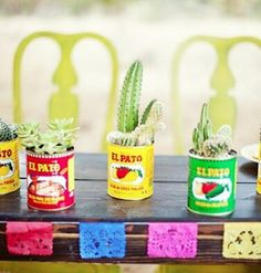Cinco de Mayo inspiration - el pato bean cans as cactus plant holders, tacos and tequila themed party Candyland, Dragons Love Tacos Party, Party Fiesta, Fiesta Party Centerpieces, Cactus Centerpiece, Party Party, Beach Party, Wedding Centerpieces, Handmade Home Decor