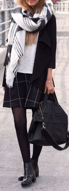 #Winter #Outfits / Oversized Scarf + Window Pane Check Skirt