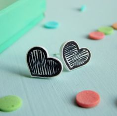 Tiny Heart Earrings Illustrated Sketchy Black and White Stud Post