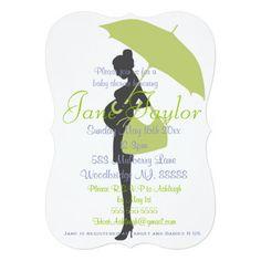 "Curvy Green Silhouette Baby Shower Invitations 5"" X 7"" Invitation Card"