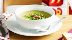 A true winter classic, pea and ham soup makes a satisfying lunch or dinner, and is divine served up in tiny cups for a winter cocktail party treat. Ham Hock Soup, Pea And Ham Soup, Pea Soup, Real Food Recipes, Soup Recipes, Dinner Recipes, Yummy Food, Chef Recipes, Yummy Recipes