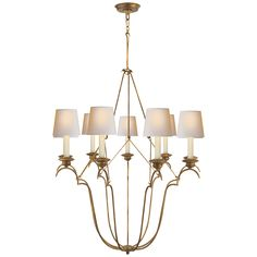 Belvedere Chandelier In Gilded Iron with Natural Paper Shades