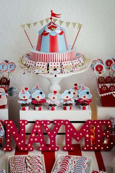 Red and blue dessert table at a circus birthday party! See more party planning ideas at CatchMyParty.com!
