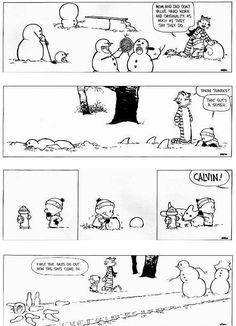 Calvin and Hobbes snowmen... how creative are YOUR snowmen?