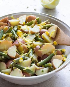 Summer Potato Salad with Green Beans, Corn, Lemon, and Olive Oil / JillHough.com A bright, refreshing, change-of-pace potato salad with lemon juice and olive oil instead of the usual mayonnaise
