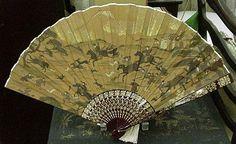 Wonderful 19th C. Japanese Fan, H/P Hunt Scene, Lacquerware Sticks
