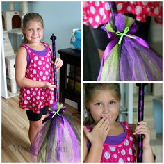 Tulle Broomstick DIY - maybe not so harry potter, but darn cute. make with brown and rust tulle to harry potter it up? Disfarces Halloween, Holidays Halloween, Halloween Treats, Halloween Decorations, Halloween Costumes, Kid Costume, Holiday Crafts, Holiday Fun, Tulle Crafts