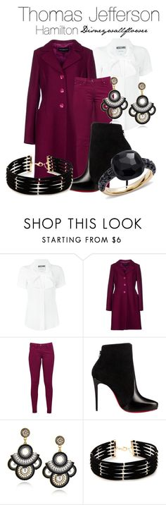 """Thomas Jefferson- Hamilton"" by disneywallflower ❤ liked on Polyvore featuring Moschino, Roccobarocco, Great Plains, Christian Louboutin, Forever 21 and Pomellato"