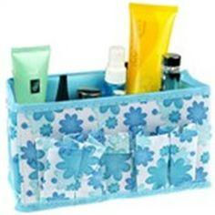 Flower Pattern Design Desktop Storage Box Storage Case Holder Organizer for Cosmetics Makeup - Color Assorted