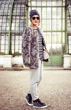 fur coat, border tops, sweat pants