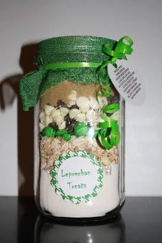 My newest creation...Leprechan Treats...you need something to catch those Leprechans! Find your favorite cookie mix and put it in a jar, dress it up!