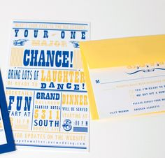 Brewers Baseball Blue And Yellow Wedding Invitation