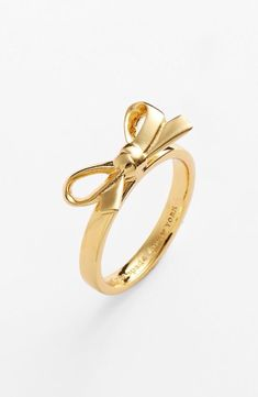 kate spade new york 'skinny mini' bow ring. Now I have earrings, bracelet and ring. I never realized how much I love bows. Cute Jewelry, Gold Jewelry, Jewelry Box, Jewelry Accessories, Fashion Accessories, Fashion Jewelry, Jewlery, Jewelry Rings, Opal Jewelry