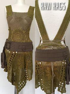 Elven , crochet, nature crochet see through top-dress, Mori girl , Forrest girl