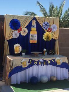 Tema cerveza modelo Beer Birthday Party, Mexican Birthday Parties, 25th Birthday Parties, 21st Birthday Decorations, Birthday Party Themes, Beer Decorations, Modelo Beer, Corona Beer, Husband