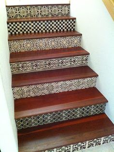 Tiles On The Risers For The Basement Stairs!