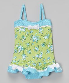 Look what I found on #zulily! Green & Turquoise Garden Party Skirted One-Piece - Infant, Toddler & Girls #zulilyfinds