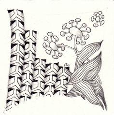 Ein Zentangle aus den Mustern Knobeez, Nudibranch, Pointerz, gezeichnet von Ela Rieger, CZT