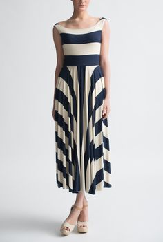 Big French Stripe Boat Neck 3/4 Dress