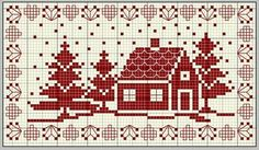 Ideas for embroidery christmas cross stitch Cross Stitch House, Xmas Cross Stitch, Cross Stitch Samplers, Cross Stitch Charts, Counted Cross Stitch Patterns, Cross Stitch Designs, Cross Stitching, Cross Stitch Embroidery, Cross Stitch Freebies