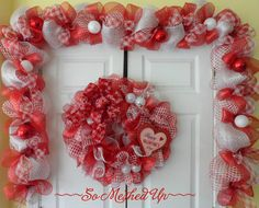 This is a very pretty mix of Valentines colored mesh! This 10 long garland could be used around a doorway, on a mantle, banister or any long flat Valentine Day Wreaths, Valentines Day Decorations, Valentine Crafts, Be My Valentine, Valentine Ideas, Christmas Wreaths, Mesh Garland, Banister Garland, Diy Valentine's Day Decorations