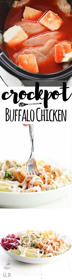 Crockpot Buffalo Chicken recipe is spicy and healthy. Made with an easy homemade buffalo sauce and just a few hours in the crockpot. (Dairy-Free, Gluten-Free)