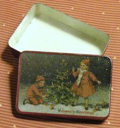 Vintage Tin Collectible Tin Red Season's by RosePetalResources, $32.00
