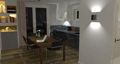 Keukenzicht met verlichting