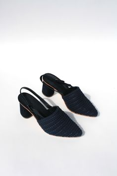 <h1>There are so many things to love about this pump - pointed navy woven rope effect covered toe, suede ...