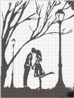 kiss silhouette cross stitch pattern